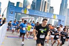 2011 challenge företags jp morgan singapore Arkivfoton