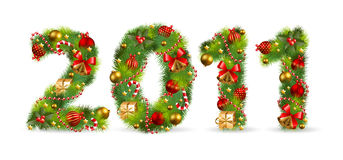 2011, christmas tree font. With green fir and baubles royalty free illustration