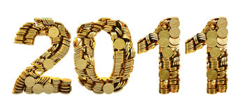 2011 coins. 2011 is composed of gold coins. with clipping path Royalty Free Stock Photo