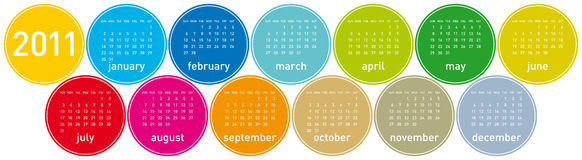 2011 Colorful Calendar. Colorful Calendar for year 2011 in a circles theme. in  format Royalty Free Stock Photography