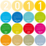 2011 Colorful Calendar. Colorful Calendar for year 2011 in a circles theme. in  format Stock Photos