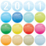 2011 Colorful Calendar. Colorful Calendar for year 2011 in a glossy circles theme. in  format Royalty Free Stock Photos