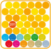 2011 Colorful Calendar. Colorful Calendar for year 2011 in a circles theme. in  format Stock Images