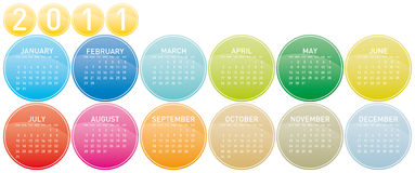 2011 Colorful Calendar. Colorful Calendar for year 2011 in a glossy circles theme. in  format Stock Photo