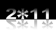 2011 concept. 2011 new year concept in black and white colors with snowflakes in stead of zero stock illustration