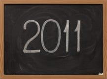 2011 - craie blanche sur le tableau noir Images libres de droits