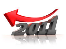 2011 crisis. Business fall in 2011. Message of concern over the new year Stock Photo
