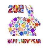 2011 de Chinese Bloemen van het Konijn van het Konijntje van de Lente van het Nieuwjaar Royalty-vrije Stock Foto's