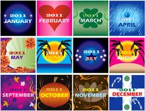 2011 Decorative themed Calendars. Twelve 2011 Calendars with space for planning. Very decorative and themed Royalty Free Stock Photo