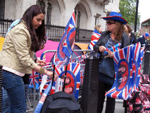 2011 fans royal wedding 免版税库存照片