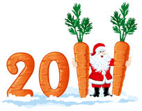 2011 figures from the carrots. The wish fulfillment of all desires in the new year vector illustration