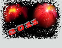 2011 with fireworks. Fireworks on black background for 2011 Royalty Free Stock Photo