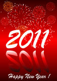 2011 with fireworks. 2011 Happy new year with fireworks royalty free illustration