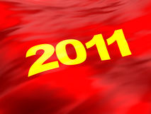 2011 flag. Abstract 3d illustration of red flag background with 2011 year sign on it Stock Photos