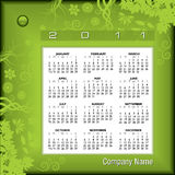 2011 floral calendar. Illustration of green floral themed 2011 calendar Stock Photo