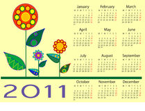 2011 floral calendar. An illustrated 2011 calendar with a floral design royalty free illustration