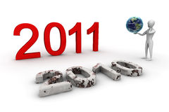2011 The Future ?. 3d render illustration with peaple earth and number 2011, on white Stock Photography