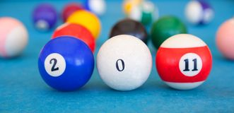 2011 gemaakt van biljart-ballen Stock Fotografie