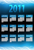 2011 Glowing Blue Calendar. Royalty Free Stock Photography