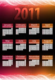2011 Glowing Neon Calendar. 2011 Glowing Neon Pink and Orange Calendar Royalty Free Stock Images