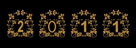 2011 gold decorative card Royalty Free Stock Images