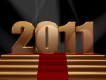 2011 on gold podium. 3d rendered image of 2011 on gold podium stock illustration