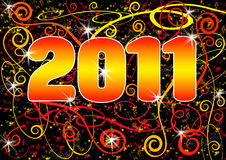 2011 Grunge Spiral Postcard. A grungy New Year postcard for 2011 in orange, red and yellow against a black background with swirls, spirals and glowing stars ( royalty free illustration