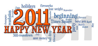 2011 happy new year word cloud. Happy New Year 2011 word cloud on white Stock Photo