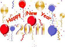 2011 Happy New Years. With balloons, confetti and streamer,s .. to bring in the new year Stock Photo