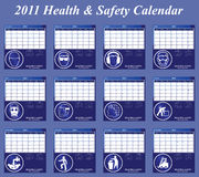 2011 Health and Safety calendar. With page per month Royalty Free Illustration