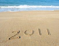 2011 Jahr auf Sand Stockbild