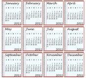 2011 kalendarz Obrazy Royalty Free