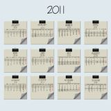 2011 kalendarzowy nutowy papier Fotografia Royalty Free