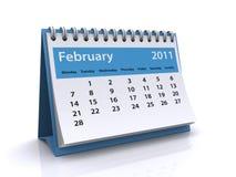 2011 kalender februari Arkivfoto
