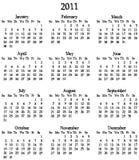 2011 Kalender-Schablone Stockfoto