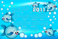 2011 Kid Calendar. With fishes and bubbles air Stock Photo