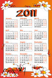 2011 Kid calendar with ant. Kid calendar 2011 with ant and daisies - Cartoon style Stock Photo