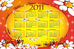 2011 Kid calendar with ant. And daisies - Cartoon style Stock Images