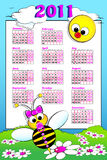 2011 Kid calendar with baby bee. 2011 Kid calendar landscape with a baby girl bee and daisies - Cartoon style Stock Image