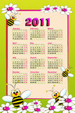 2011 Kid calendar with bees. And daisies - Cartoon style Stock Photos