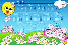 2011 Kid calendar with butterfly - Italian. 2011 Landscape Kid calendar with butterflies and daisies, Italian language stock illustration
