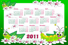 2011 Kid calendar with grubs. And flowers stock illustration