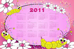 2011 Kid calendar with grubs. And flowers royalty free illustration