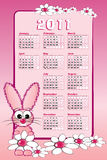 2011 Kid calendar with rabbit. 2011 calendar with pink bunny and white daisies Royalty Free Stock Photos