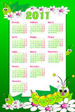 2011 Kid italian calendar with grubs. 2011italian calendar with grubs and flowers, cartoon style Stock Photography