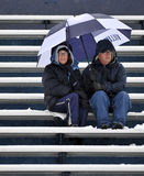 2011 le football de NCAA - ventilateurs dans la neige Images stock