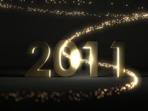 2011 lettering. 2011 with light wave in the dark Stock Photography