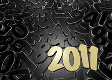 2011 low key composition. New Year's date among scattered figures. 3D render vector illustration