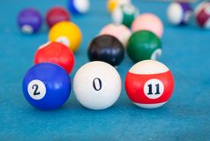 2011 made of billiard-balls Royalty Free Stock Images