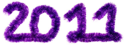 2011 made of violet tinsel Royalty Free Stock Images